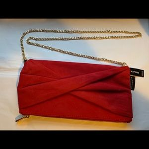 Express-Crossbody-Faux Suede Clutch-Red